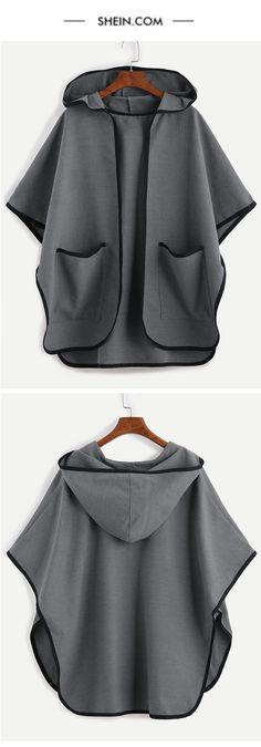 simple street open front hooded poncho cape coat.