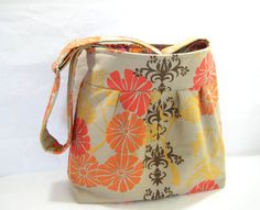 Floral Cross Body Bag Pleated Messenger Orange by moxiebscloset, $42.00