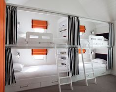 Unique Bunk Beds with Beadboard Wall Pink Bedding Double Bed