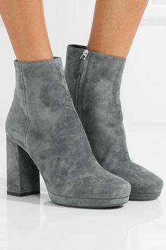 Prada - Suede Platform Ankle Boots - Gray