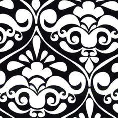 Divine Damask in Black -- Manufacturer: Michael Miller -- Designer: Michael Miller House Designer -- Collection: Mod Basics -- Print Name: Divine Damask in Black
