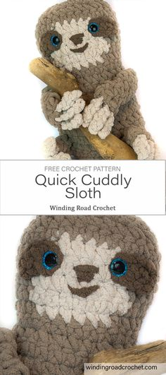 Spike the Crochet Sloth: Free Pattern - Winding Road Crochet : Quick and easy plush sloth. This sloth is a great companion for any kid and works up fast. Free Crochet pattern by Winding Road Crochet. Quick Crochet Patterns, Fast Crochet, Crotchet Patterns, Crochet Bebe, Crochet For Kids, Amigurumi Patterns, Crochet Dolls, Amigurumi Toys, Crochet Crafts