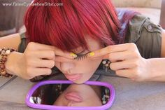 Lashes  Rest elbows and chin  on table to help