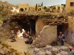 Discover thousands of images about Belen Monumental Nativity House, Diy Nativity, Christmas Nativity Scene, A Christmas Story, Nativity Sets, Christmas Cave, Christmas Crafts, Church Christmas Decorations, Winter Painting