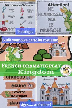 Includes everything you need to set up a kingdom themed dramatic play center. This dramatic play center provides many opportunities for reading, writing, oral communication, social interaction and number recognition. High School French, French Class, Poo, Movie Talk, Dramatic Play Centers, French Resources, Number Recognition, World Languages, French Teacher