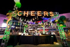 """Marquee letters spelled out """"cheers"""" at the welcome reception.  Photo: Christopher Todd Photography"""
