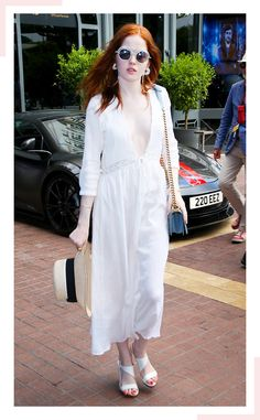 Ellie Bamber from Cannes 2016: Street Style-Inspired Outfits  The British actress nailed ladylike style in this bohemian-chic maxi dress with a plunging neckline. Moral of this story: you need a straw hat in your life.