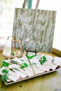 seed packet wedding favors - photo by Milou and Olin http://ruffledblog.com/romantic-blush-winery-wedding