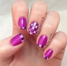 Xs and Os purple black white nails
