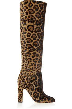 BRIAN ATWOOD Renee Leopard-Print Calf Hair Knee Boots