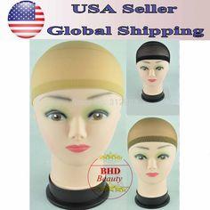 Select Color-12pcs- Unisex Nylon Bald Wig Hair Cap Stocking Liner Snood Mesh Stretch black/brown/fresh
