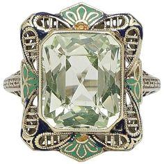 Fantastic Art Deco Enamel Peridot Filigree Gold Ring  | 1stdibs.com