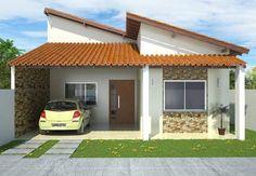 Fachada de casa pequeña de un piso y tejado