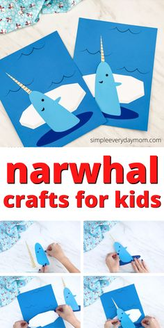 Make this cute Narwal craft with the kids this winter. It's an easy craft that comes with a free printable template. Download it and make it with preschool, kindergarten, and elementary children. Winter Activities For Kids, Winter Crafts For Kids, Art Activities, Free Preschool, Preschool Kindergarten, Preschool Lessons, Cute Narwhal, Animal Crafts For Kids, Toddler Art