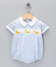 Take a look at this Carriage Boutique Blue Duck Seersucker Bubble Bodysuit - Infant  by A Classic Closet: Boys' Smocking on #zulily today!