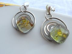 Light green and gold earrings silver jewelry glass di LaTerraCanta  NEW NEW NEW!!!