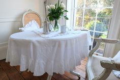 Ruffled Linen Tablecloth - Gorgeous Shabby Chic! 100% Stonewashed Linen 55 inches x 95 inches. Hello and Welcome to Oscar & French Vintage style is our thing - and if it's made with linen, and it features a ruffle, then we love it even more! We design a romantic range of products, and we mostly use 100% french flax linen, which we stonewash to make really soft. That means our linens are really soft to your skin, fully washable and iron beautifully (if you are that way inclined of…
