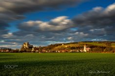 Beckov castle at the sunset Beautiful Sky, Golf Courses, Castle, Sunset, Facebook, Places, Instagram, Sunsets, Lugares
