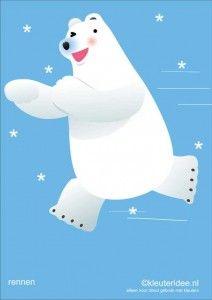 Bewegingskaarten ijsbeer voor kleuters 9, rennen , kleuteridee.nl, thema Noorpool, Movementcards for preschool,  free printable.