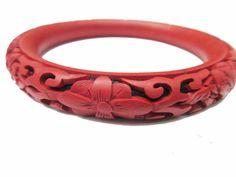 Vintage Cinnabar Bangle Red Floral Carved by serendipitytreasure
