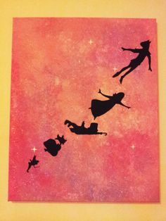 original 16x20 acrylic painting on canvas peter pan in the cotton candy galaxy by RainbeauxRoad, $60.00