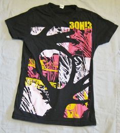 3OH!3 WomensBlack Graffiti T Shirt- Size S Graphic Tee Juniors Short Sleeve Neon #Tultex #GraphicTee