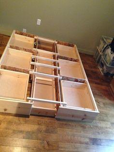 Best queen storage bedframe, new, pine, 7 Drawer