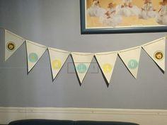 Banderín vintage para la llegada de bebe, temática Leo. ---Cotizaciones en info@ohlala-eventos.com ----