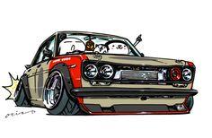 ozizo art show: 画像 Classic Japanese Cars, Classic Cars, Weird Cars, Cool Cars, Jetta Mk1, Toyota Tercel, Cool Car Drawings, Funny Car Memes, Street Racing Cars