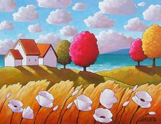 Coastal Summer Cottage Art Print 5x7 Seaside Landscape Windy