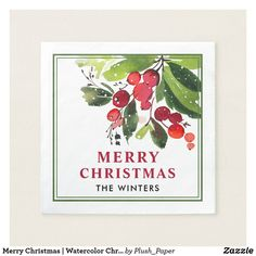Merry Christmas | Watercolor Christmas Florals Paper Napkin Holiday sticker cocktail napkin features a beautiful Christmas foliage watercolor design with green leaves and red berries. Custom Merry Christmas with monogram text can be personalized.