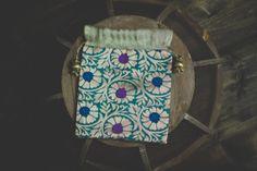 Indian Sari Blue Teal Gold Fabric Tassel Brocade Bollywood Silk Gift Party Bags Floral Medallion Favor Wedding Pouch Jewelry Potli Zari Bag - $3.00