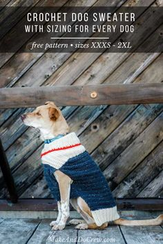 Learn how to wrap up your pup in cozy with this easy crochet dog sweater. Designed in nine sizes to fit very small to very large dogs, the free pattern and tutorial includes notes on how to customize for your furry friend. Crochet Dog Sweater Free Pattern, Free Crochet, Irish Crochet, Easy Crochet, Crochet Ideas, Crochet Pet, Crochet Afghans, Crochet Pattern, Large Dog Sweaters