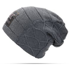 e79878d2a0 Plus Velvet Thick Warm Knitted Letter Slouchy Beanie Hat Slouchy Beanie  Hats