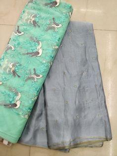 Fancy jute Georgette Sarees with blouse - Elegant Fashion Wear South Indian Sarees, Indian Silk Sarees, Georgette Sarees, Lehenga Choli, Fancy Blouse Designs, Dress Neck Designs, Colour Combination For Dress, Colour Combo, Plain Saree With Heavy Blouse