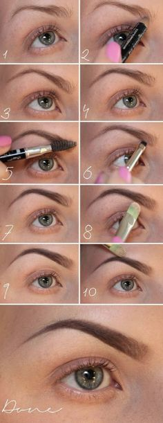 Brow Shaping Tutorials - How To Shape Eyebrows Perfectly - Awesome Makeup Tips for How To Get Beautiful Arches, Amazing Eye Looks and Perfect Eyebrows - Make Up Products and Beauty Tricks for All Different Hair Colors along with Guides for Different Eyesh Perfect Eyebrows Tutorial, Eyebrow Tutorial, Perfect Brows, Perfect Makeup, Eyebrow Makeup, Skin Makeup, Eyebrow Pencil, Makeup Eyebrows, Eyebrow Tips