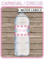 Carnival Party Water Bottle Labels template – pink/aqua