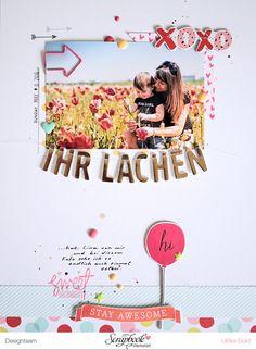 """Layout """"Ihr Lachen"""" - Scrapbook Werkstatt Sketch des Monats Juli 2016 - Dear Lizzy *Fine And Dandy* - von Ulrike Dold"""