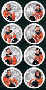Canada Post - 2003 -Canadian Astronauts:     To honour the achievements of Canadian astronauts and the space program. Mark Garneau; Roberta Bondar; Steve MacLean; Chris Hatfield; Robert Thirsk; Bjarni Tryggvason; Dave Williams and Julie Payette