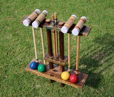 DIY Croquet lawn game mallet stand