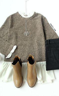 Grey White Color Block Ruffle Sweater