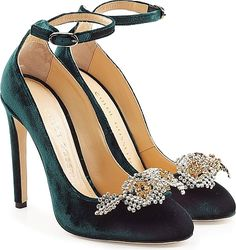 345976c5e7e Chloe Gosselin Helix Velvet Pumps with Embellishment