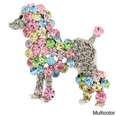 @Overstock - Multicolor Poodle Pin Animal Pin Brooch - This adorable poodle pin brooch features 62 multicolor crystals adorning the base metal, complete with an antique finish.  http://www.overstock.com/Jewelry-Watches/Multicolor-Poodle-Pin-Animal-Pin-Brooch/8570086/product.html?CID=214117 $12.05