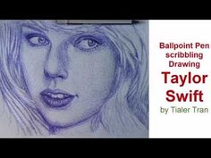 How to draw Taylor Swift with Ballpoint Pen scribbling technique - YouTube #draw #drawingportrait #taylorswift #art #artwork #scribblingdrawing