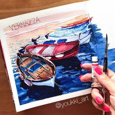 — Anastasia Mamoshina/ Youkki (@youkki_art) в Instagram: «Some of the boats from beautiful evening Vernazza, Cinque Terre, Italy, that we visited yesterday>> #aquarela #watercolor #underwater #submerge #art #paint #painting #draw #drawing #light #girls #wave #sea #boat #ship #blue #illustation #inspiration #вдохновение #рисунок #акварель #лодка #море