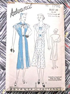 1930s or early 40s Advance 1796  Dress Pattern   Bust by Fancywork, $32.00
