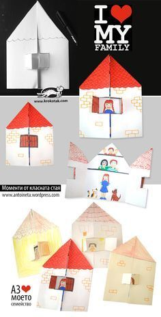 I ❤love my family craft. Make adorable paper houses and kids can color them I ❤love my family craft. Make adorable paper houses and kids can color them Kids Crafts, Family Crafts, Preschool Crafts, Projects For Kids, Diy For Kids, Arts And Crafts, Kids Fun, Preschool Family Theme, Easy Crafts