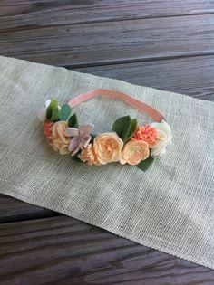 Felt Flower Crown // Peaches  Cream // First by fancyfreefinery, $23.50
