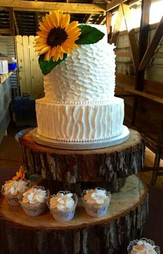 Sunflower wedding cake. Like the texture on the middle tier