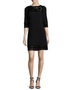 W0CZP Andrew Gn 3/4-Sleeve Lace-Trim Dress, Black